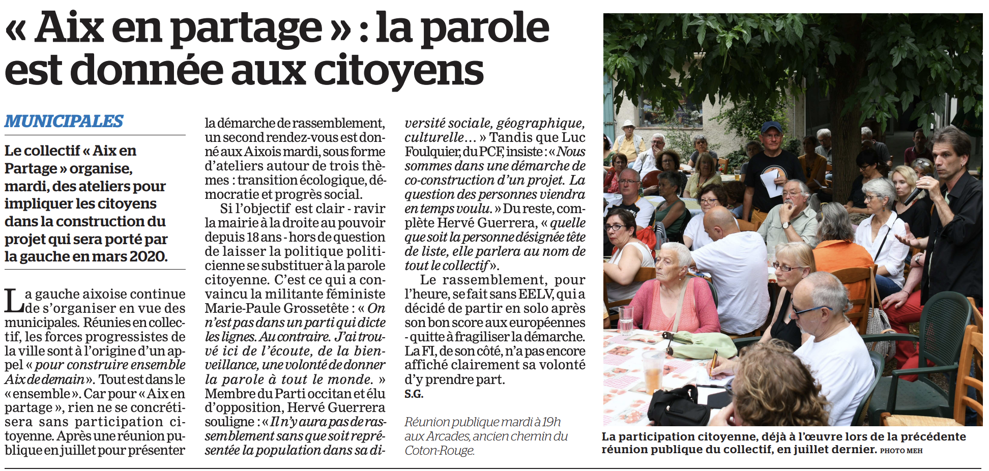 Le fond avant les égos : La Marseillaise 6 septembre