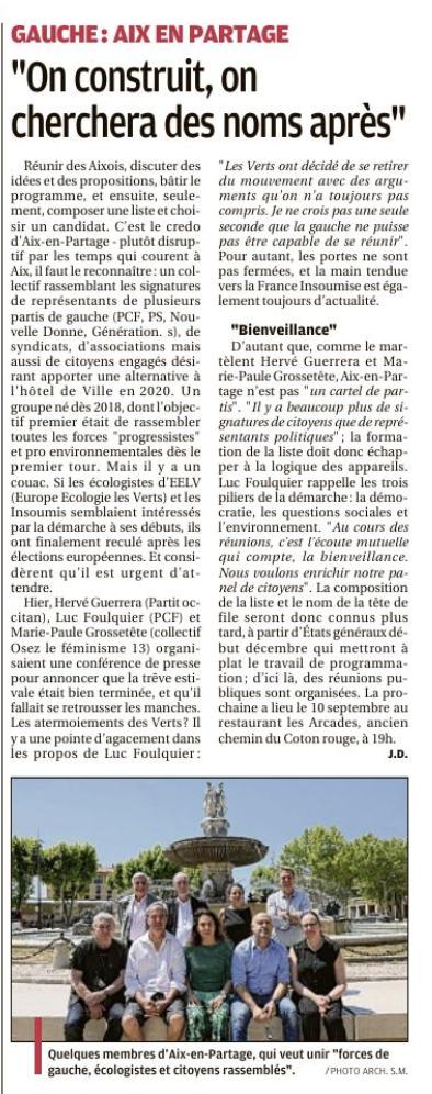 Élaborer ensemble un programme : La Provence 6 septembre