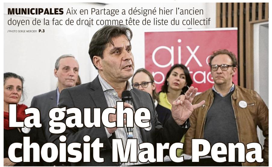 A gauche Marc Pena mènera la liste d'Aix en Partage